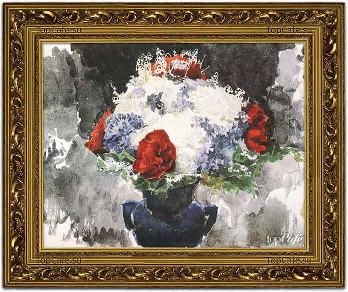 Цветы в синей вазе (1886)
