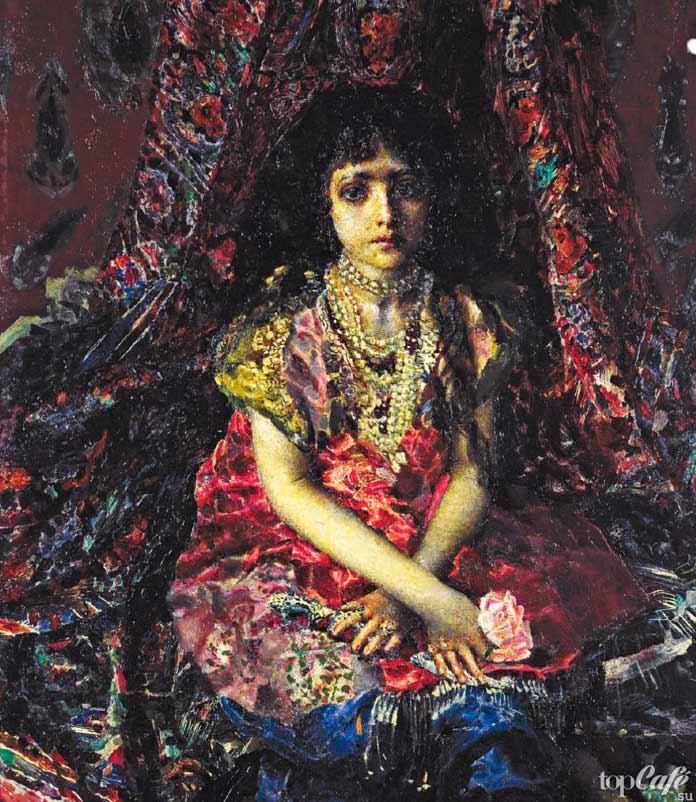 Девочка нафоне персидского ковра.1887