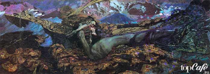 Знаменитые картины Врубеля: Демон поверженный.1902