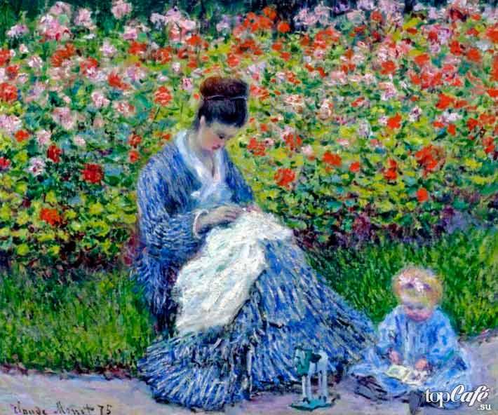 «Мадам Моне с ребенком в саду художника в Аржантее» (1875)