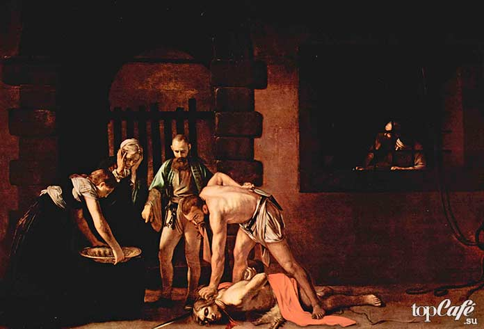 Картина Караваджо - Обезглавливание Иоанна Крестителя (1608)