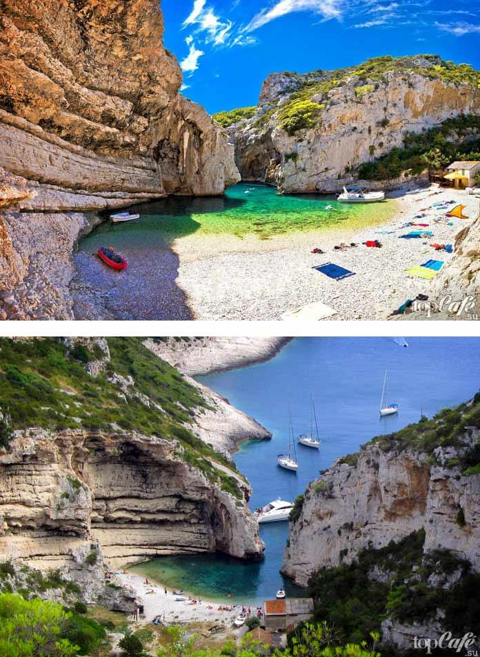 Пляж Стинива остров Виса - удивительное место в Хорватии