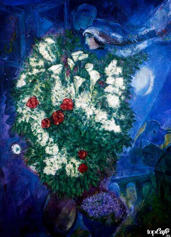 Самые известные картины Шагала: Букет с лилиями и летящие любовники (1947)