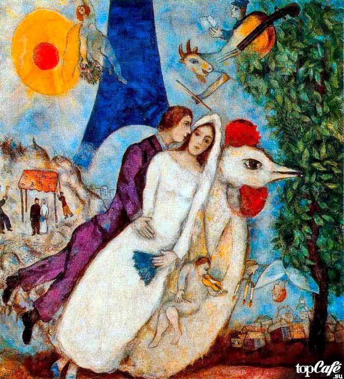 Самые известные картины Шагала: Обручение и Эйфелевая башня (1913)